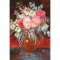 WA Qualup Bells, Proteas And Flowering Eucalyptus by Peggy Shaw