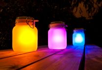 Suck UK Sun Jar Lamp in yellow, pink and blue